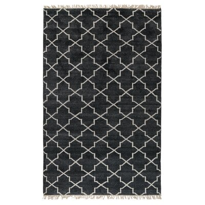 Delray Hand-Knotted Charcoal Area Rug Rug Size: 5 x 8