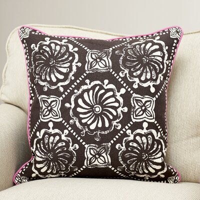 Ouezzane 100% Cotton Throw Pillow Size: 20 H x 20 W x 5 D, Color: Chocolate/Ivory, Filler: Polyester