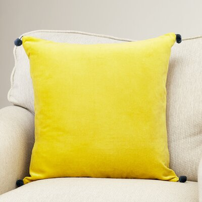 Velvet Cotton Throw Pillow Size: 22 H x 22 W x 4 D, Color: Yellow, Filler: Polyester