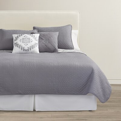Oliver 5 Piece Reversible Quilt Set Size: King, Color: Grey