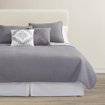 Oliver 5 Piece Reversible Quilt Set Size: King, Color: Grey