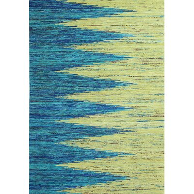 Avenue Hand-Woven Tuquoise/Gold Area Rug Rug Size: 59 x 89
