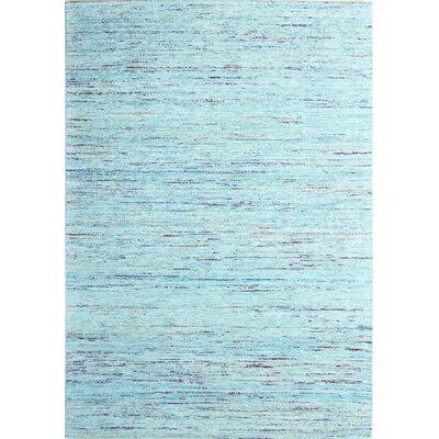 Burkett Hand-Woven Aqua Area Rug Rug Size: 7'6
