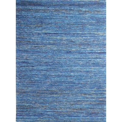 Avenue Hand-Woven Teal Area Rug Rug Size: 59 x 89