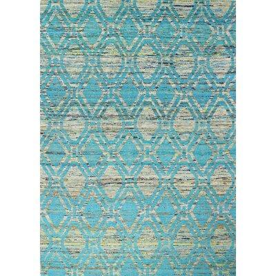 Burkett Hand-Woven Ivory/Blue Area Rug Rug Size: 5 x 7