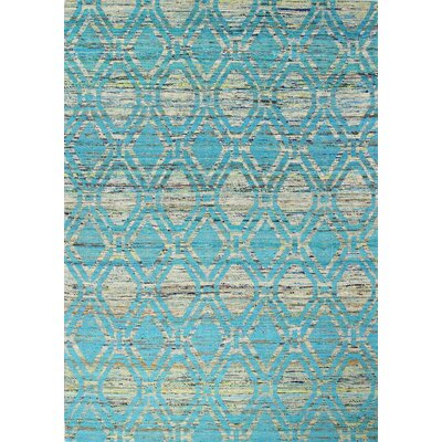 Burkett Hand-Woven Ivory/Blue Area Rug Rug Size: 59 x 89