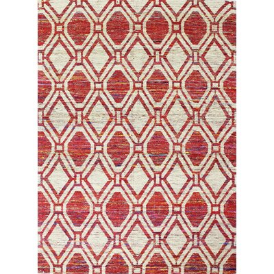 Burkett Hand-Woven Ivory/Red Area Rug Rug Size: 7'6