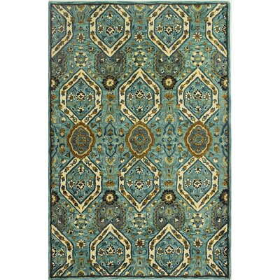Aviation Hand-Tufted Aqua Area Rug Rug Size: 39 x 59