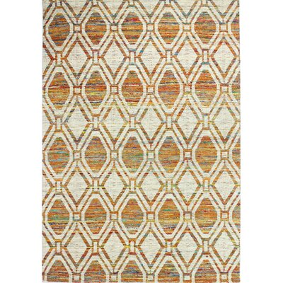 Avenue Hand-Woven Ivory/Rust Area Rug Rug Size: 59 x 89
