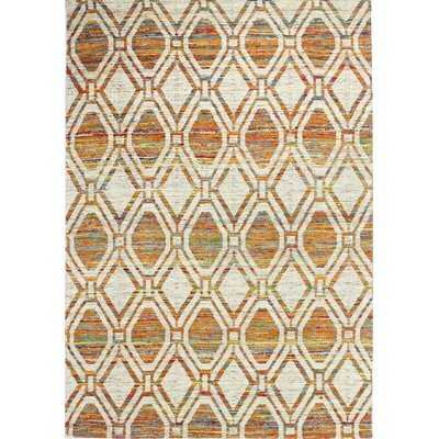 Avenue Hand-Woven Ivory/Rust Area Rug Rug Size: 76 x 96