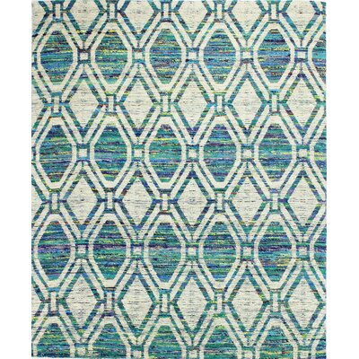 Burkett Hand-Woven Ivory/Green Area Rug Rug Size: 76 x 96