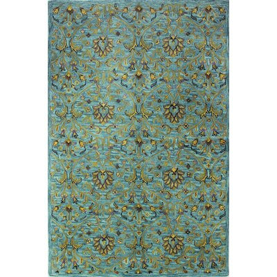 Aviation Hand-Tufted Aqua Area Rug Rug Size: 56 x 86