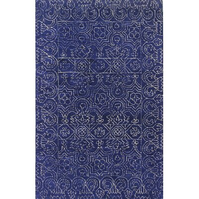 Banneker Hand-Tufted Navy Area Rug Rug Size: 86 x 117