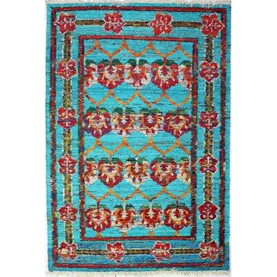 Sheridan Hand-Woven Teal Area Rug Rug Size: 86 x 116