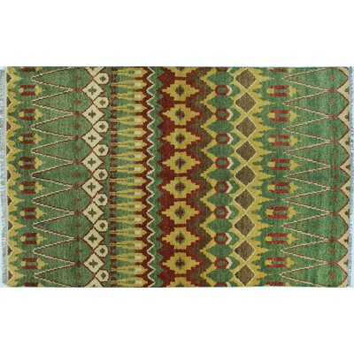 Sierra Hand-Knotted Green Area Rug Rug Size: Rectangle 711 x 911