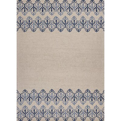 Leigh Hand-Tufted Ivory/Blue Area Rug Rug Size: 23 x 39