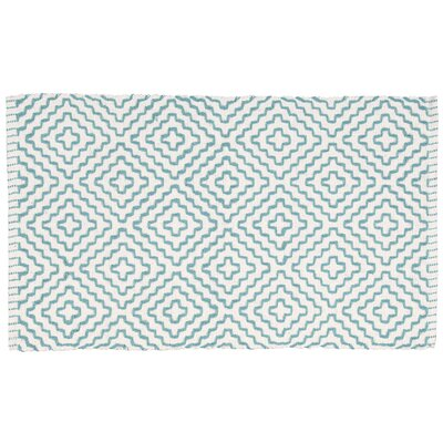 Charmine White/Turquoise Area Rug Rug Size: 19 x 210