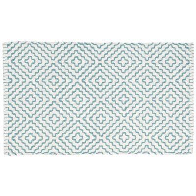 Alameda White/Turquoise Area Rug Rug Size: 19 x 210