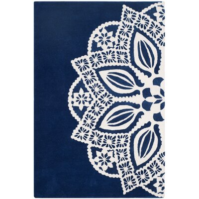 Archer Hand-Tufted Navy / Ivory Area Rug Rug Size: 5 x 8