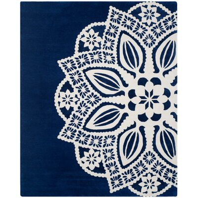Archer Hand-Tufted Navy / Ivory Area Rug Rug Size: Rectangle 8 x 10