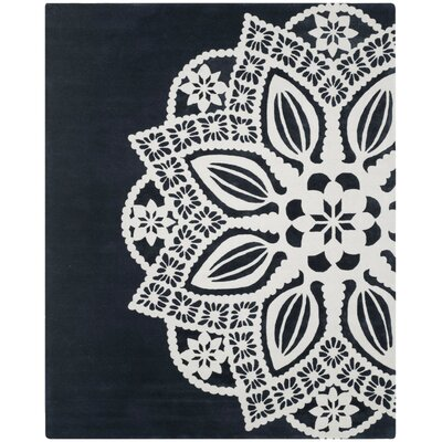 Archer Hand-Tufted Gray / Ivory Area Rug Rug Size: Rectangle 8 x 10