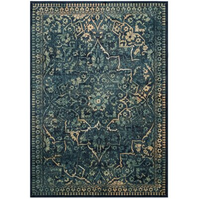 Arrow Dark Blue / Yellow Area Rug Rug Size: 53 x 76