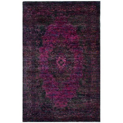 Artesia Hand-Knotted Slate Blue / Fuchsia Area Rug Rug Size: Rectangle 5 x 8