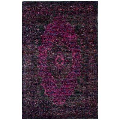 Artesia Hand-Knotted Slate Blue / Fuchsia Area Rug Rug Size: 8' x 10'