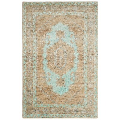 Artesia Hand-Knotted Seafoam / Beige Area Rug Rug Size: Rectangle 4 x 6