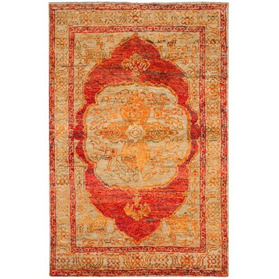 Artesia Hand-Knotted Red Orange / Beige Area Rug Rug Size: Rectangle 4 x 6