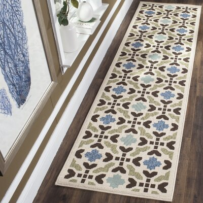 Elvire Cream/Aqua Indoor/Outdoor Area Rug Rug Size: Rectangle 27 x 5