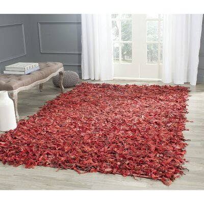 Schaefer Hand-Knotted Red Shag Area Rug Rug Size: Rectangle 4 x 6