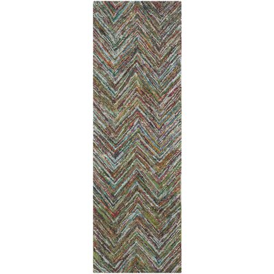 Sergio Hand-Tufted Multi/Blue Area Rug Rug Size: Runner 23 x 7