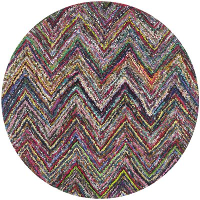 Sergio Hand-Tufted Multi/Blue Area Rug Rug Size: Round 4