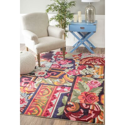 Hashmi Rose Garden Blue/Pink Area Rug Rug Size: Rectangle 710 x 11