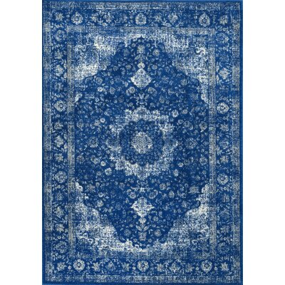 Linden Dark Blue Area Rug Rug Size: Rectangle 67 x 9