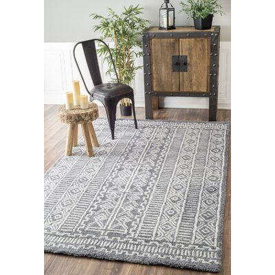 Tiponya Fretted Hand-Tufted Gray Area Rug