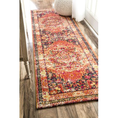Seshadri Orange Area Rug Rug Size: Runner 26 x 8
