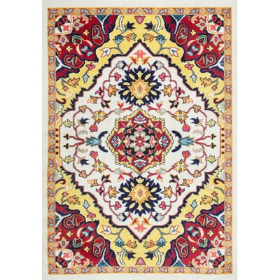 Holland Yellow/Red Area Rug Rug Size: 5 x 8
