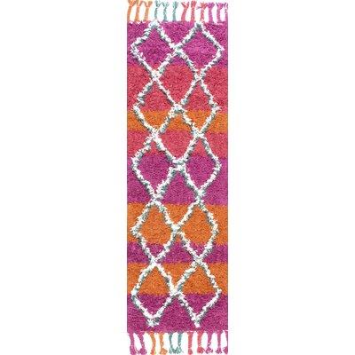 Huerta Hand-Knotted Pink/Orange Area Rug Rug Size: Runner 26 x 8