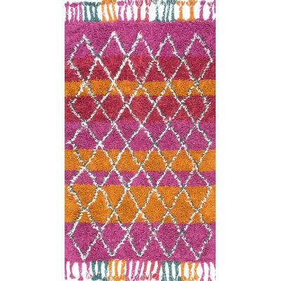 Huerta Hand-Knotted Pink/Orange Area Rug Rug Size: 76 x 96