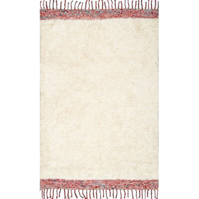 Ibrahima Hand Tufted Cream Area Rug Rug Size: 4 x 6