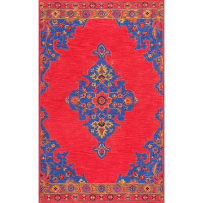 Inabinet Hand-Tufted Red/Blue Area Rug Rug Size: 76 x 96