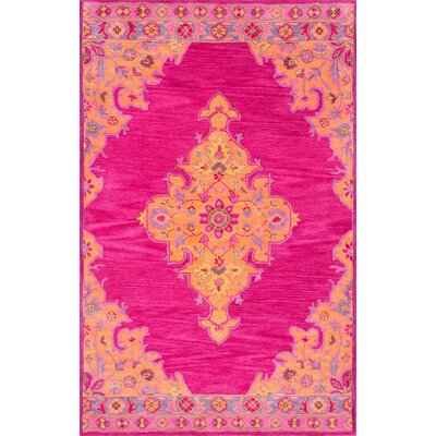 Isai Hand-Tufted Pink Area Rug Rug Size: 5 x 8