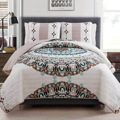 Maine Quilt Set Color: Ivory / Turquoise, Size: XL Twin