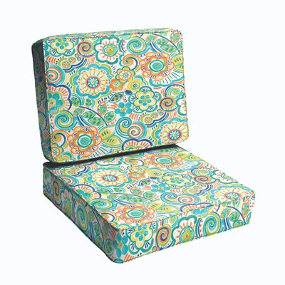 2 Piece Outdoor Chair Cushion Set Color: Blue