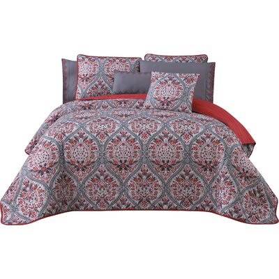 Rodeo 7 Piece Reversible Quilt Set Size: King, Color: Red