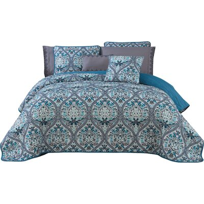 Rodeo 7 Piece Reversible Quilt Set Size: King, Color: Teal