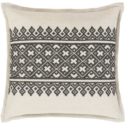 Khanna Linen Throw Pillow Size: 22 H x 22 W x 4 D, Color: Black/Khaki