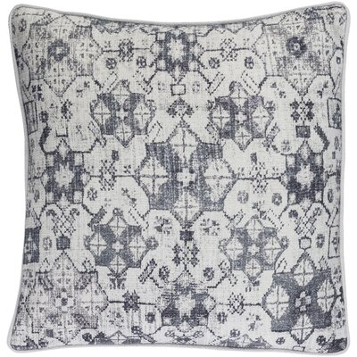 Khushi Cotton Throw Pillow Color: Light Gray/Navy/Denim/Medium Gray, Size: 22 H x 22 W x 4 D